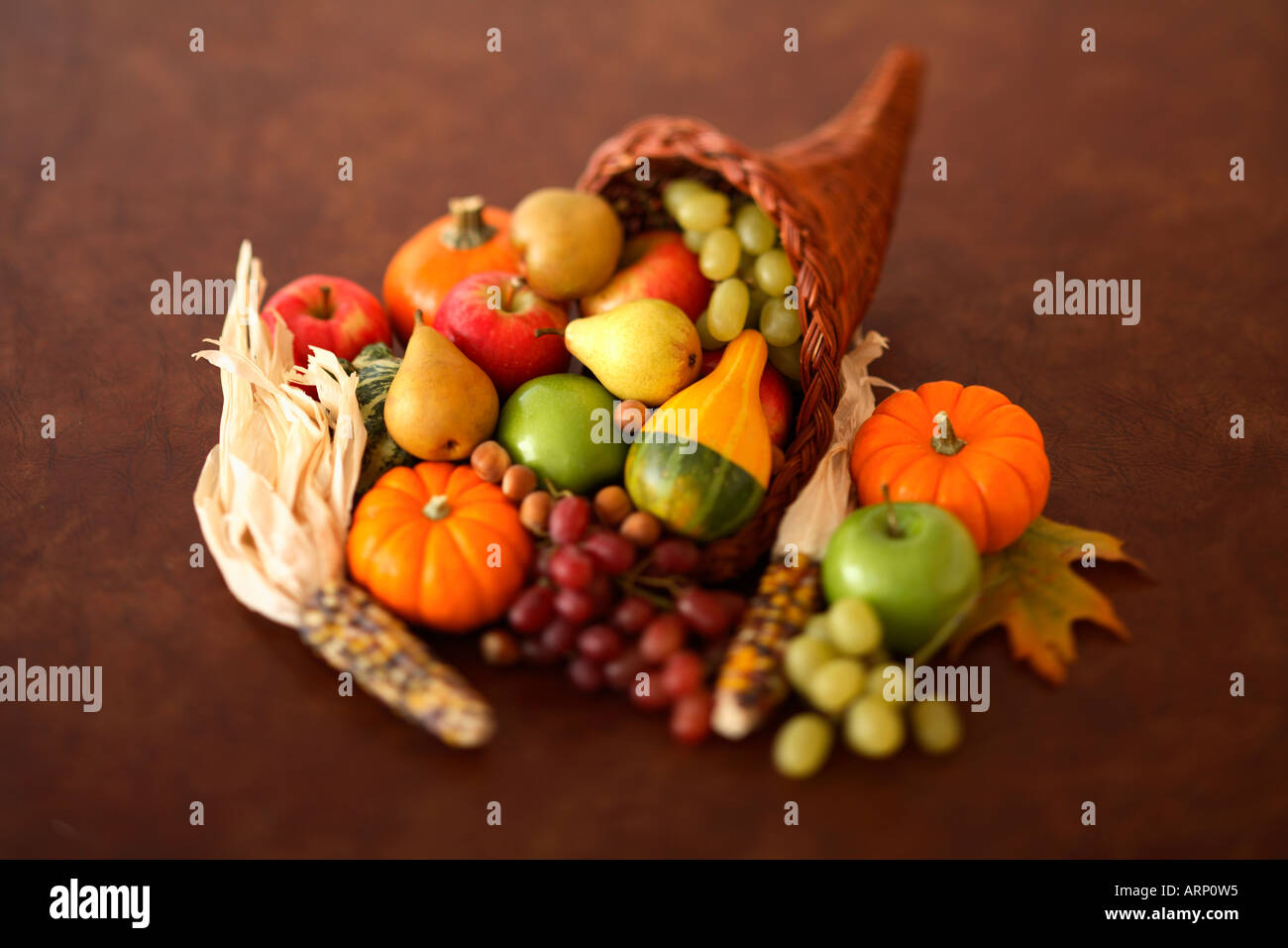 Cornucopia Filled with Fruits and Vegetables - Stock Image