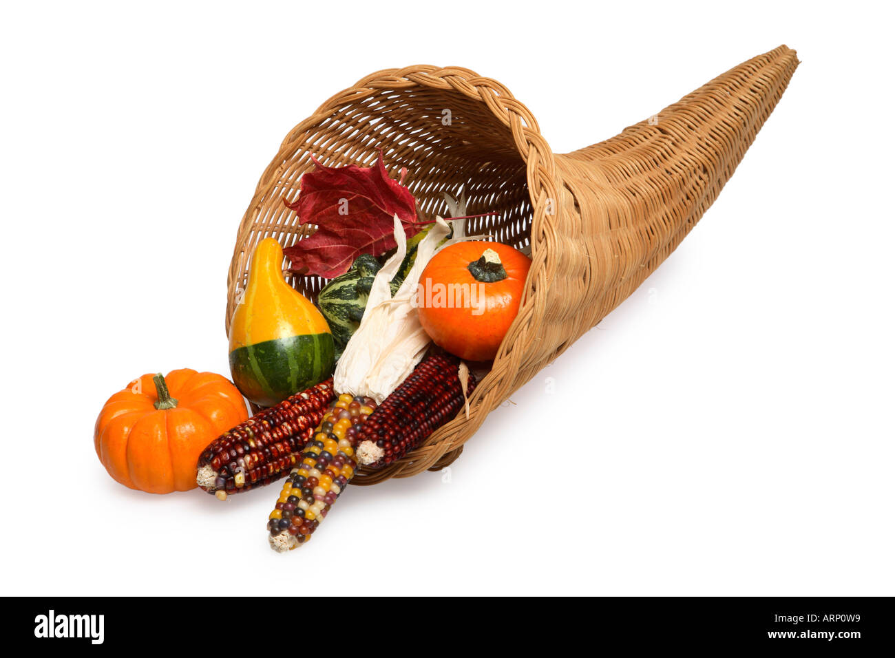 Cornucopia with Gourds and Indian Corn - Stock Image