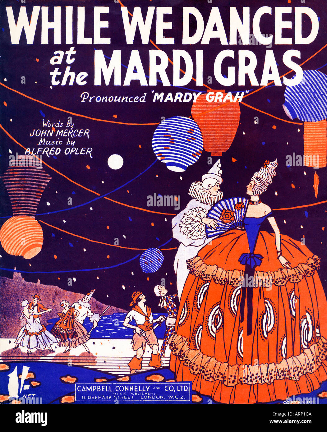 While Danced The Mardi Gras music sheet cover for the 1931 song about the New Orleans festival - Stock Image