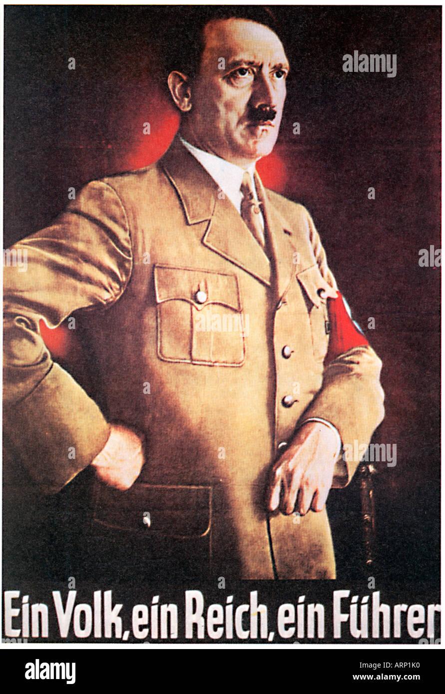 Hitler, Ein Volk, Ein Reich, Ein Fuhrer, 1939 poster of the German Chancellor - Stock Image
