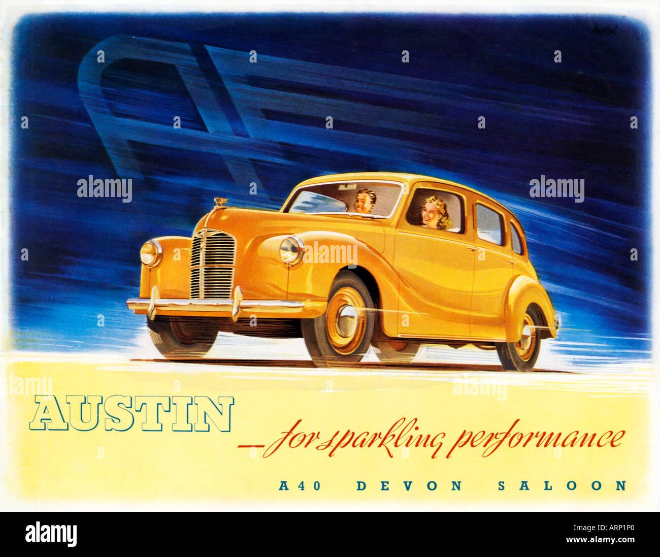 Austin A40 Devon Saloon 1940s brochure for the popular English car - Stock Image