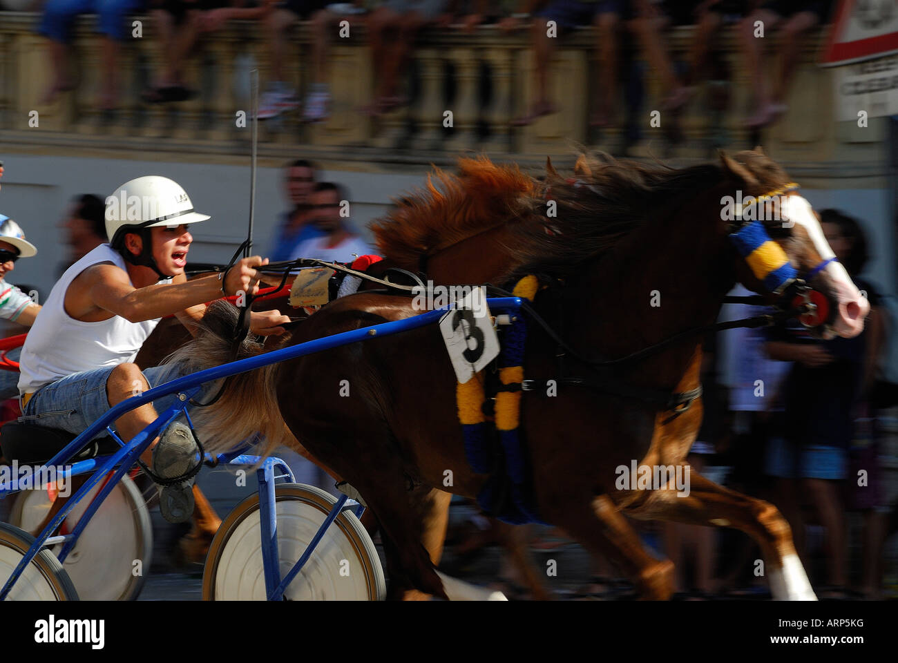 horse race panned to focus on the horse and jockey - Stock Image