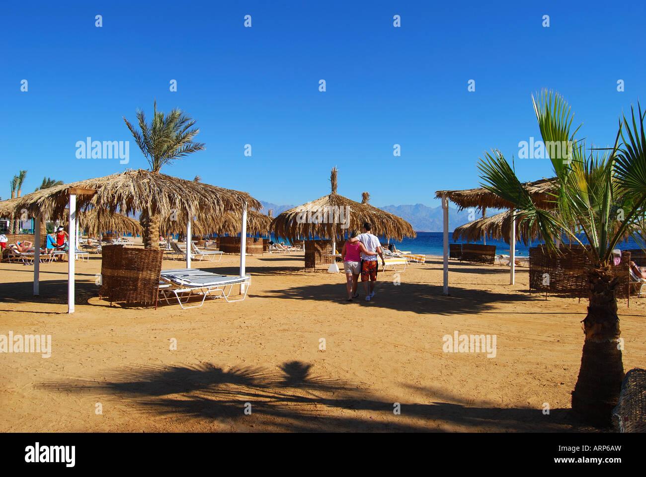 Hilton Nuweiba Coral Resort beach, Nuweiba, Sinai Peninsula, Republic of Egypt - Stock Image