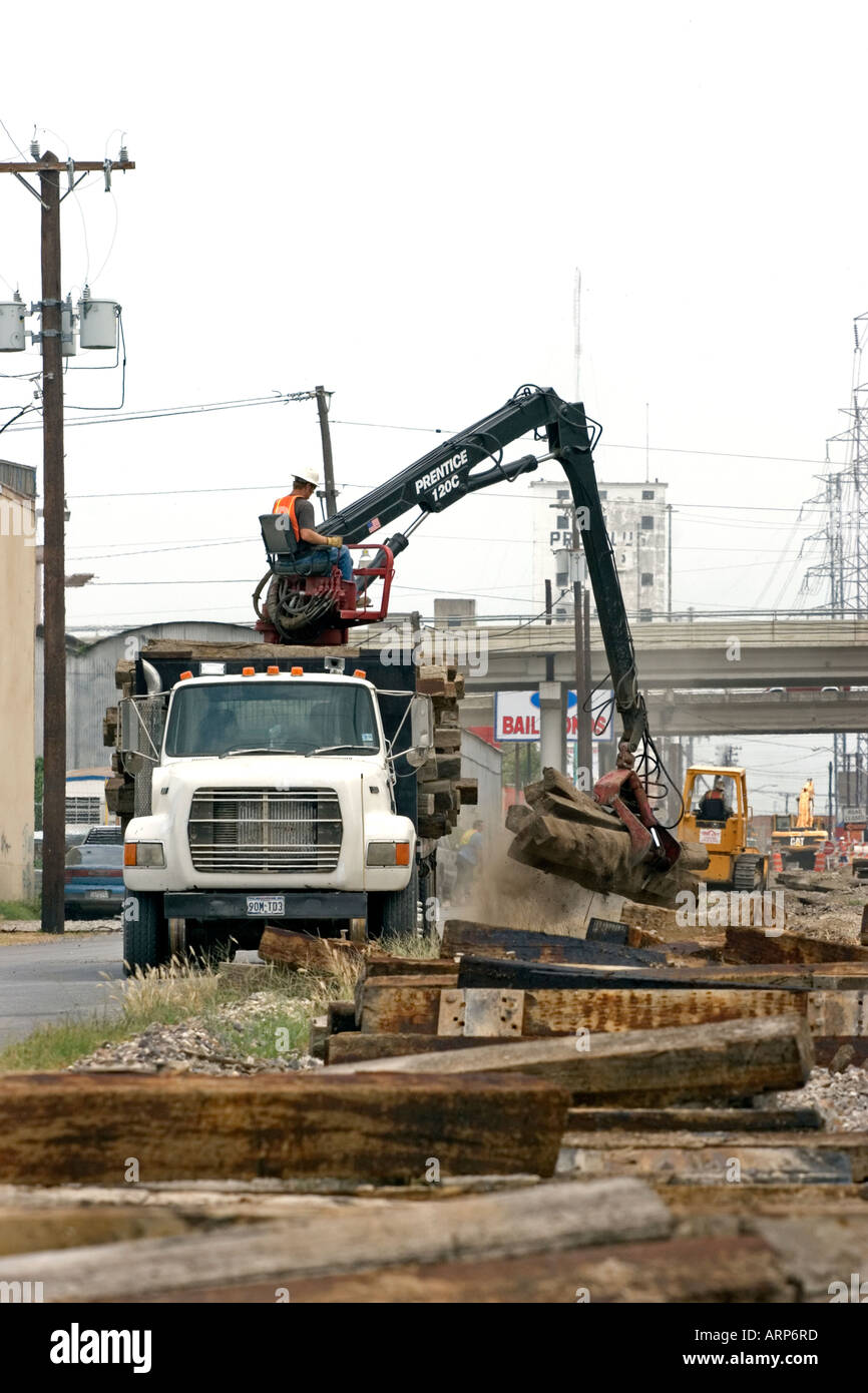 Rail road tearing up removal crane ties Stock Photo: 9201404 - Alamy