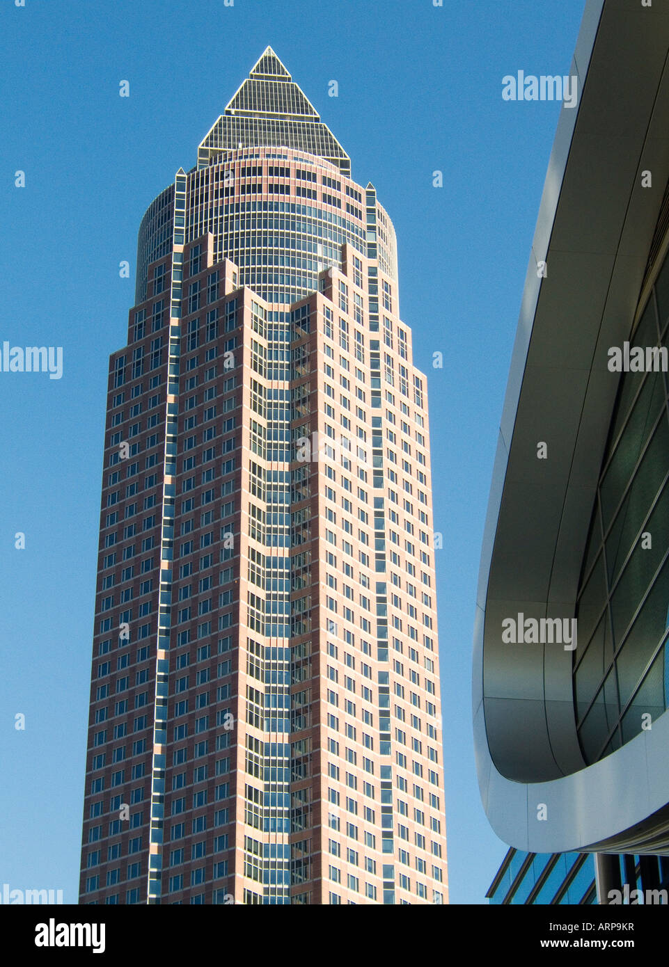 The MesseTurm or Trade Fair Tower in the Messegelande complex in central area of Frankfurt, Germany Stock Photo