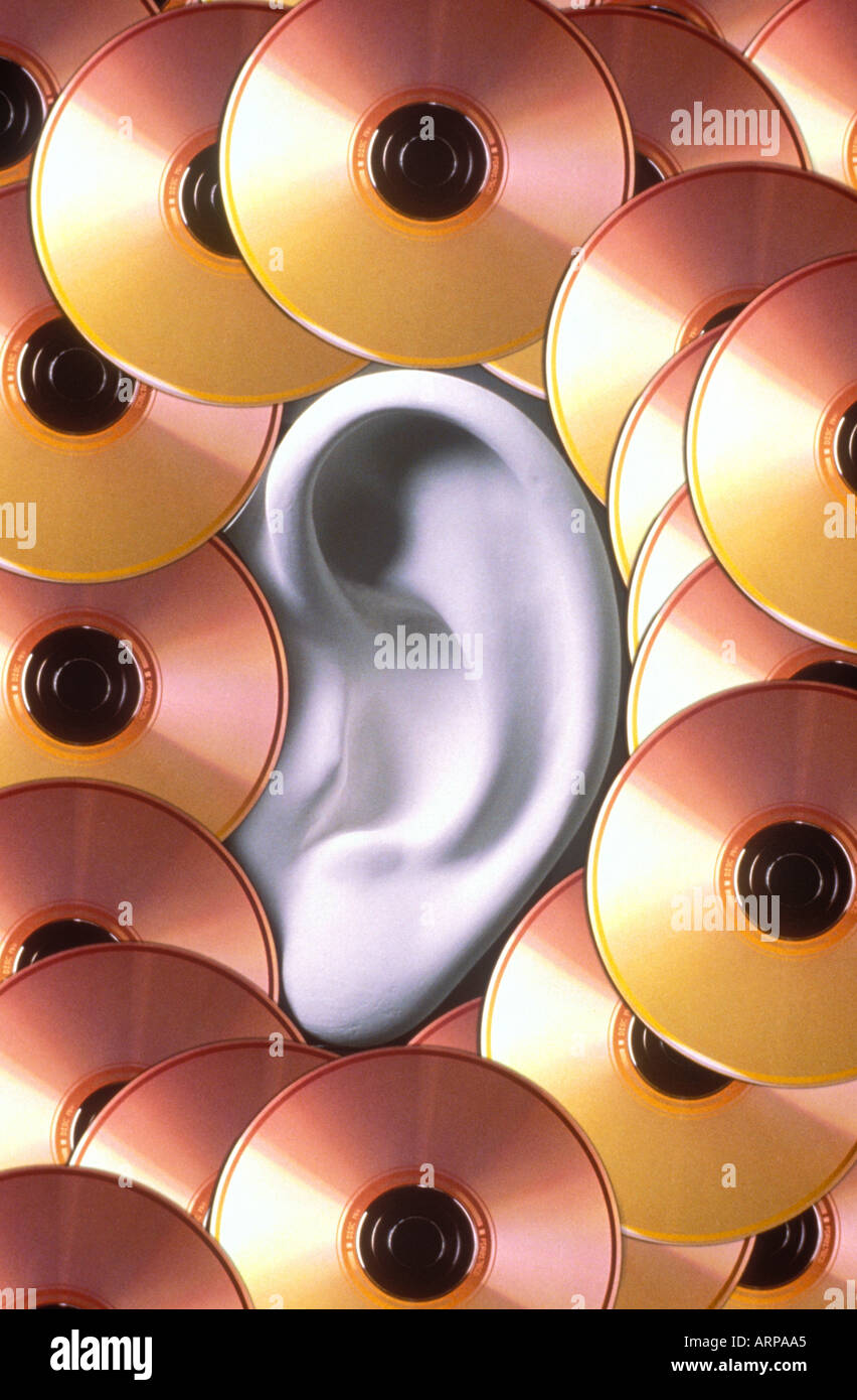 Ear with CD s - Stock Image