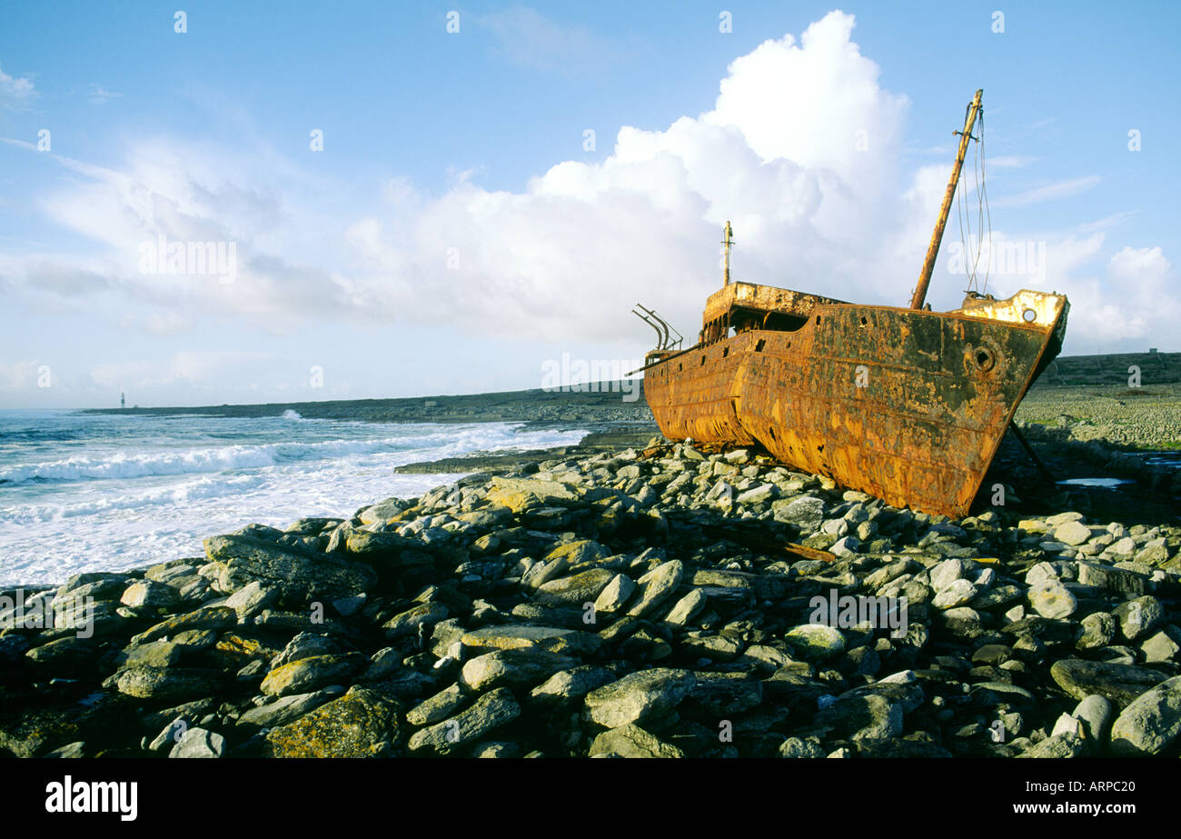 The wreck of the freighter Plessey high on the rocky shore of Inisheer, smallest of the Aran Islands in County Galway, Ireland. - Stock Image