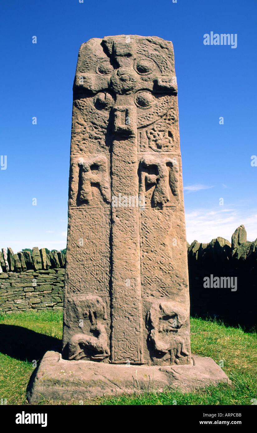 Celtic Pictish mediaeval Christian cross slab by the roadside near village of Aberlemno, Tayside, Scotland Stock Photo
