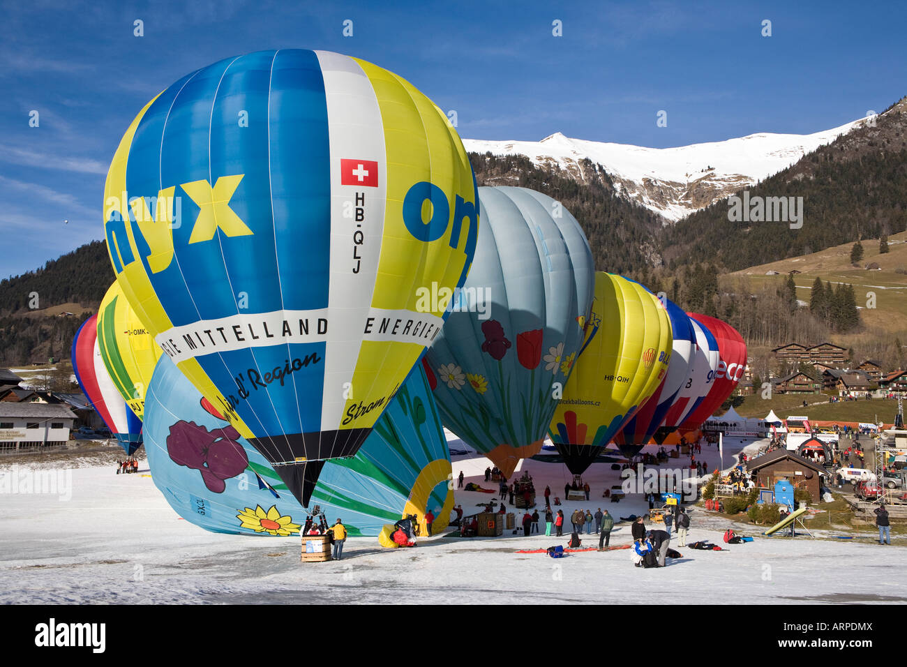 Hot Air Balloons Festival at Chateau d Oex Stock Photo