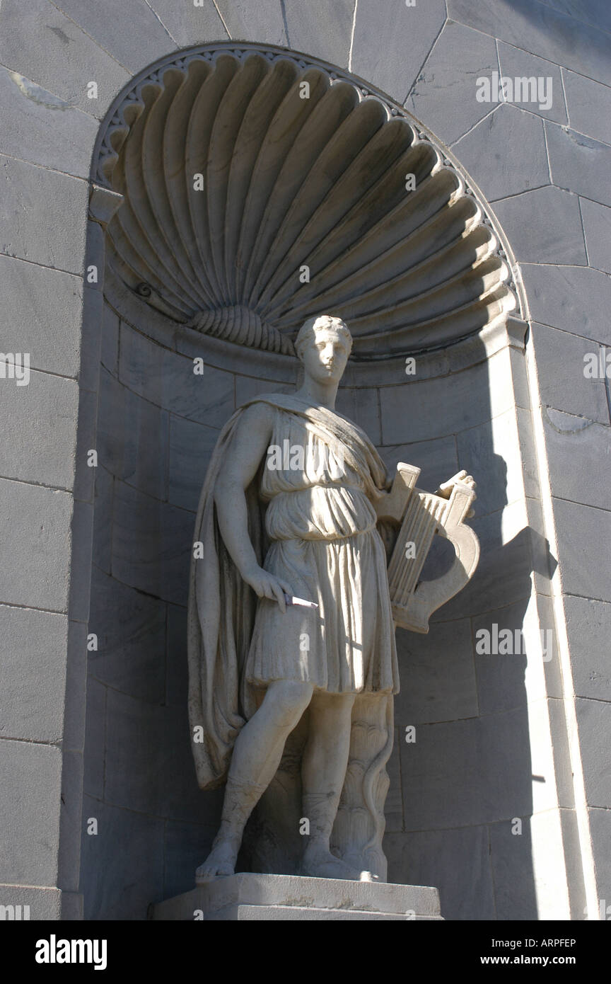 Roman statue holds knife, facade of The Butler Institute of American Art Youngstown Ohio USA - Stock Image