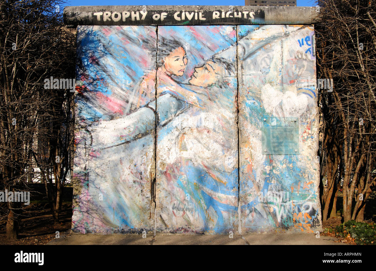 Piece of the Berlin Wall gift of the German people to the United Nations UN park New York USA - Stock Image