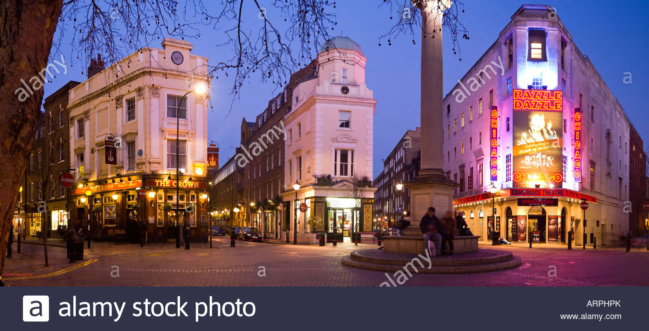 Panoramic view of Seven Dials, near Covent Garden, in London's West End. - Stock Image