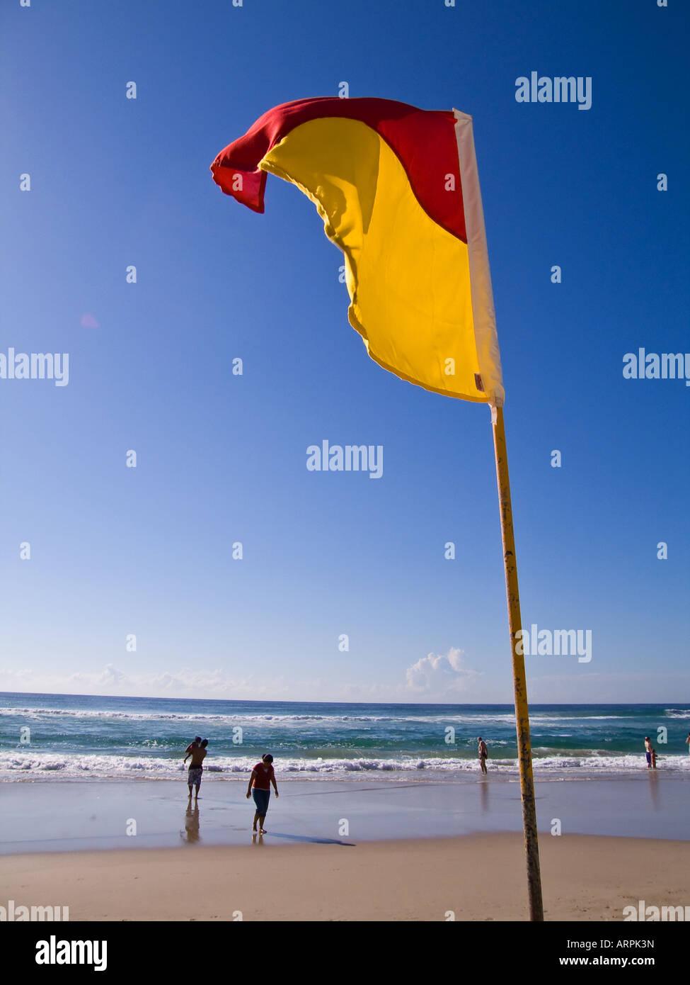 Surf Life Saving flag Gold Coast Queensland Australia - Stock Image