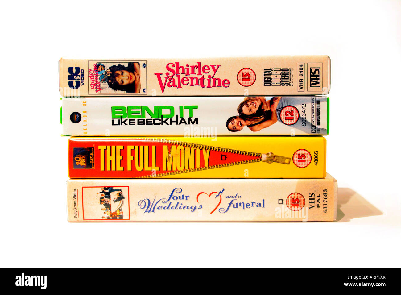 A collection of VHS videos of popular British films of the eighties and nineties. Shirley Valentine (1989) Directed - Stock Image