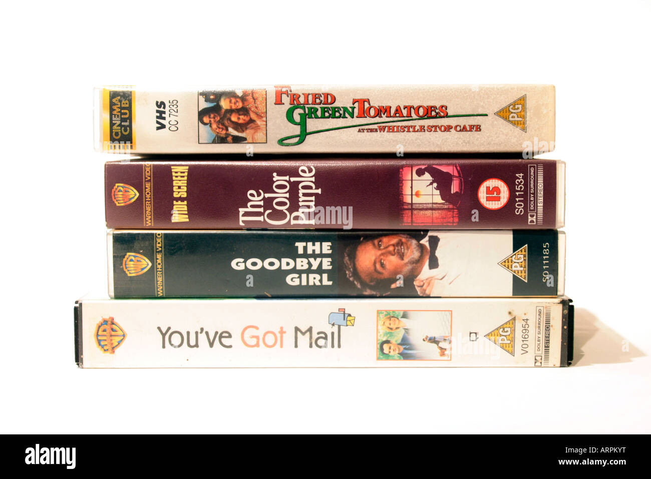Four VHS video films popular with women, Fried Green Tomatoes at the Whistlestop café (1991) written by fannie Flagg, Stock Photo