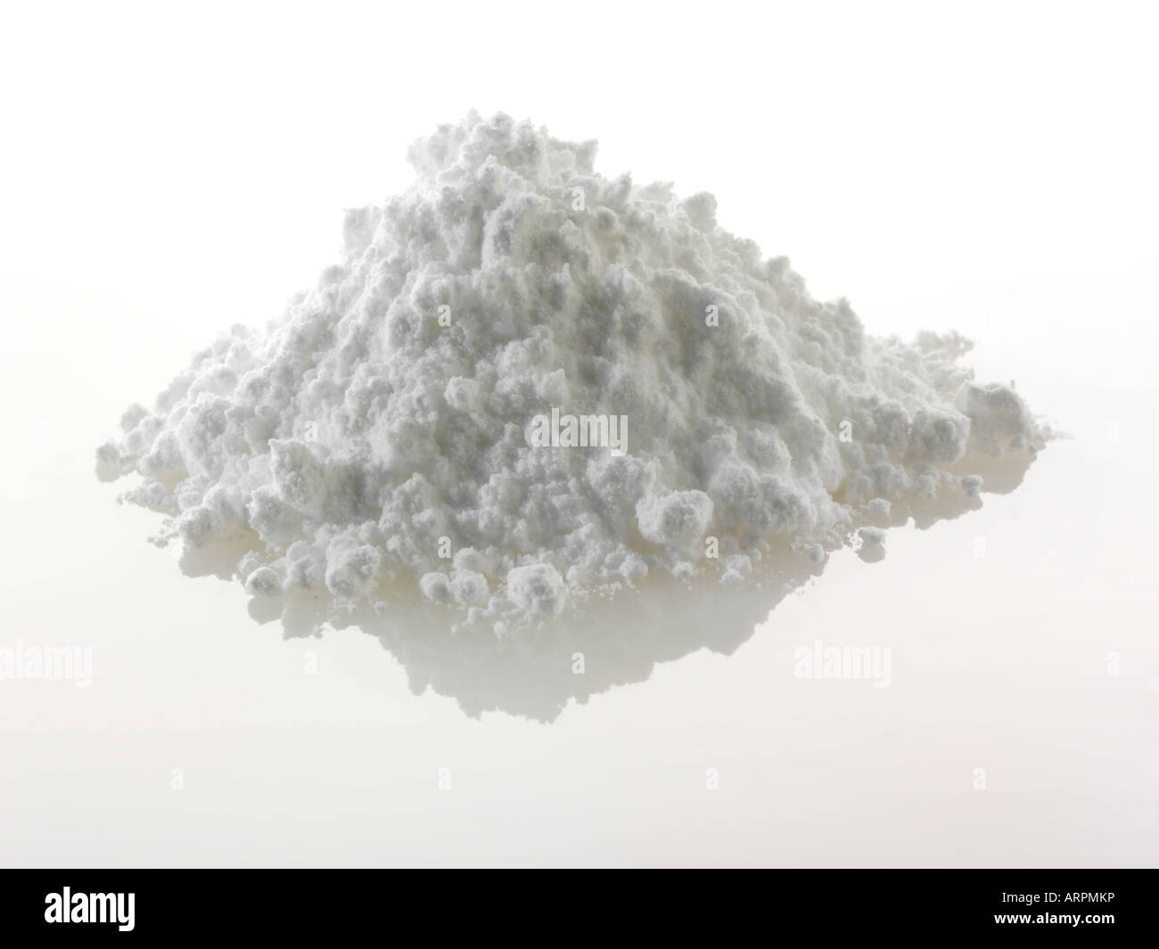 Icing sugar against a white background to cut out - Stock Image