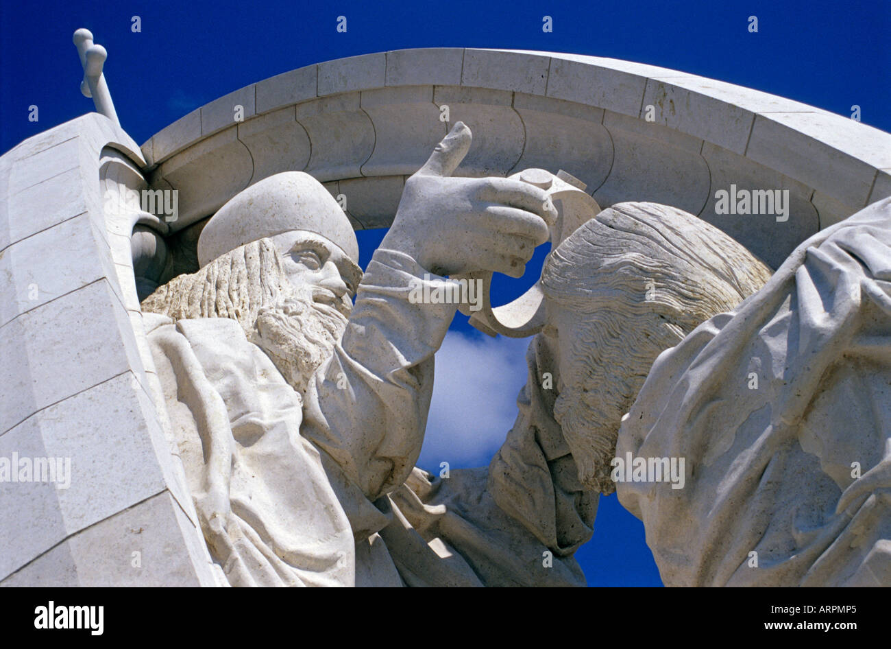 The Statue of Coronation of the First King of Hungary - St. Stephen - by a Papal Envoy in Esztergom, Hungary Stock Photo