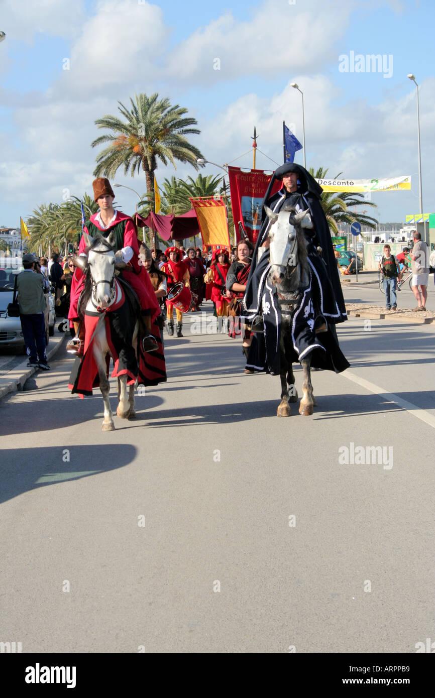 Lusitanian Horse Riders leading the Historic Parade Festival dos Descobrimentos Lagos Algarve Portugal - Stock Image