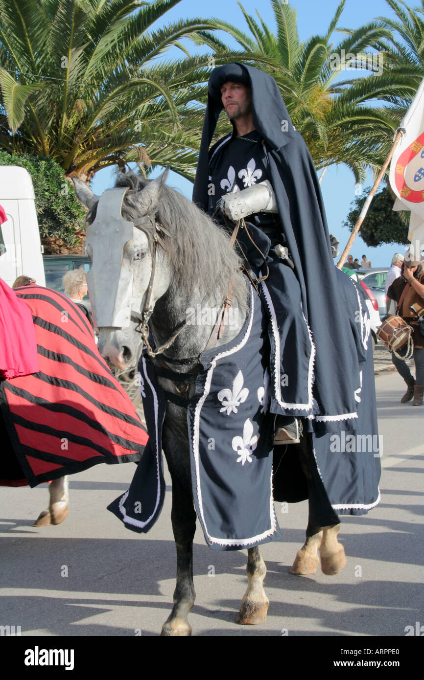Medieval knight and Lusitanian Horse at Historic Parade Festival dos Descobrimentos  Lagos Algarve Portugal - Stock Image