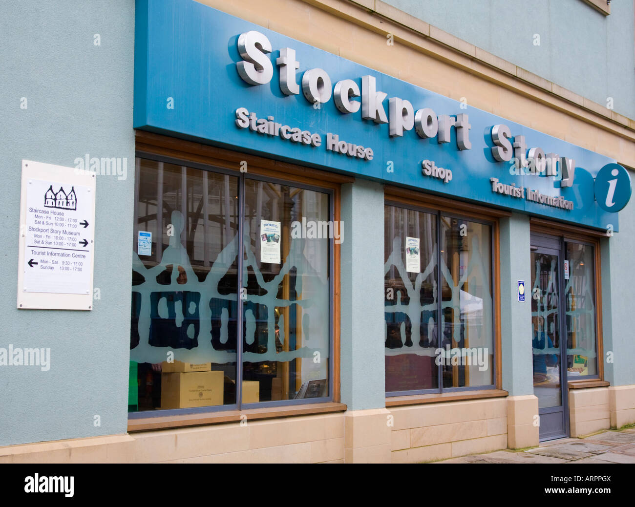 Stockport Story Museum and tourist information. Stockport Market, Stockport, Greater Manchester, United Kingdom. - Stock Image