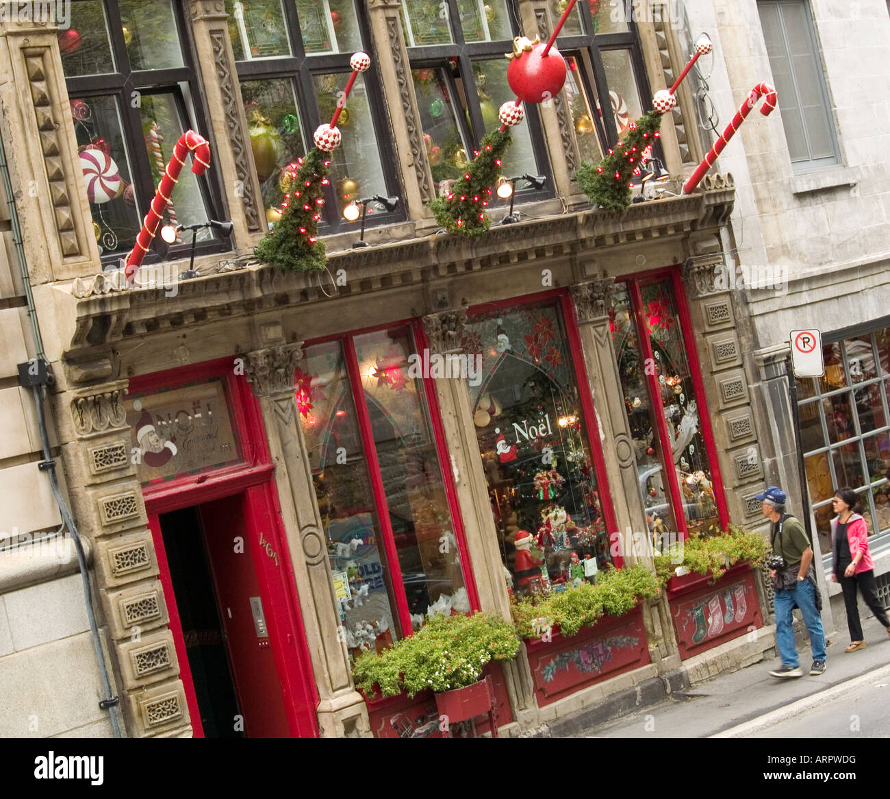 Outside \'Noel Eternal\', a Christmas Shop situated on Rue St Sulpice ...
