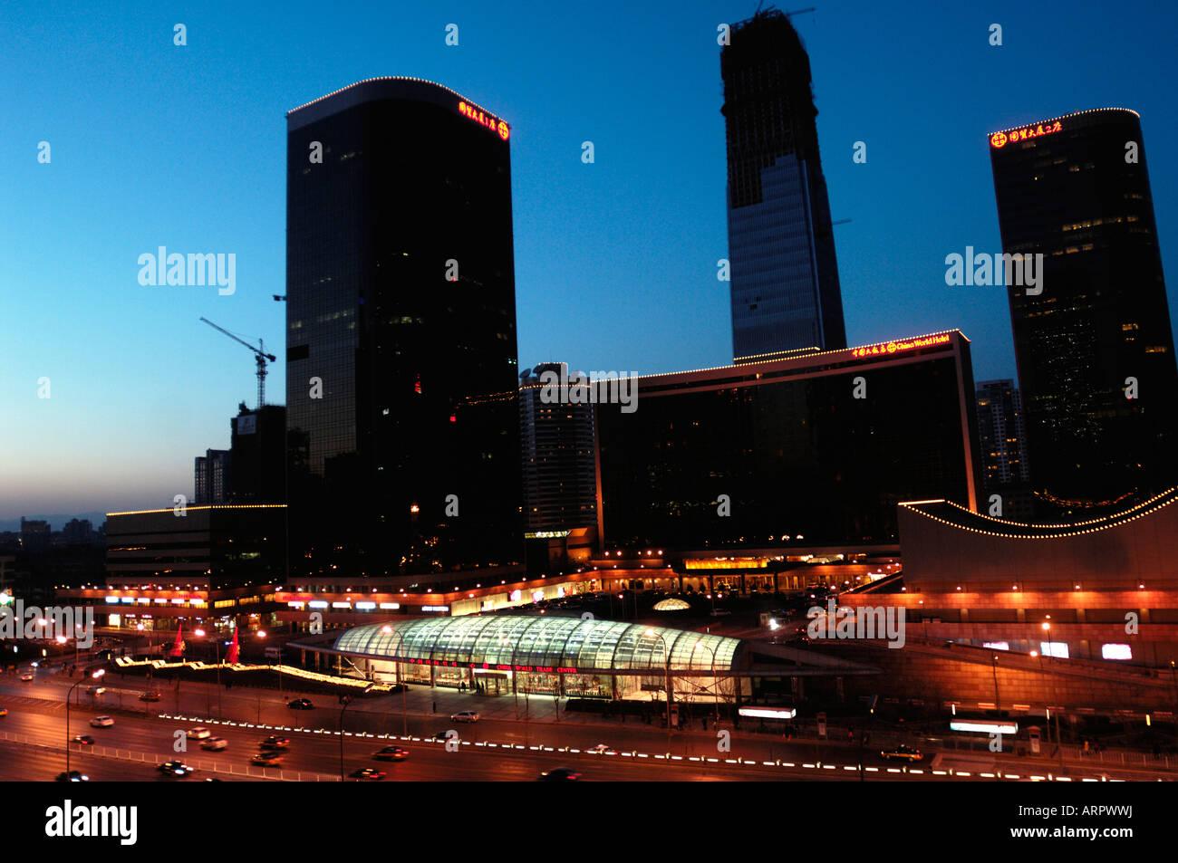 Beijing CBD Skyline at nightfall. 18-Feb-2008 - Stock Image