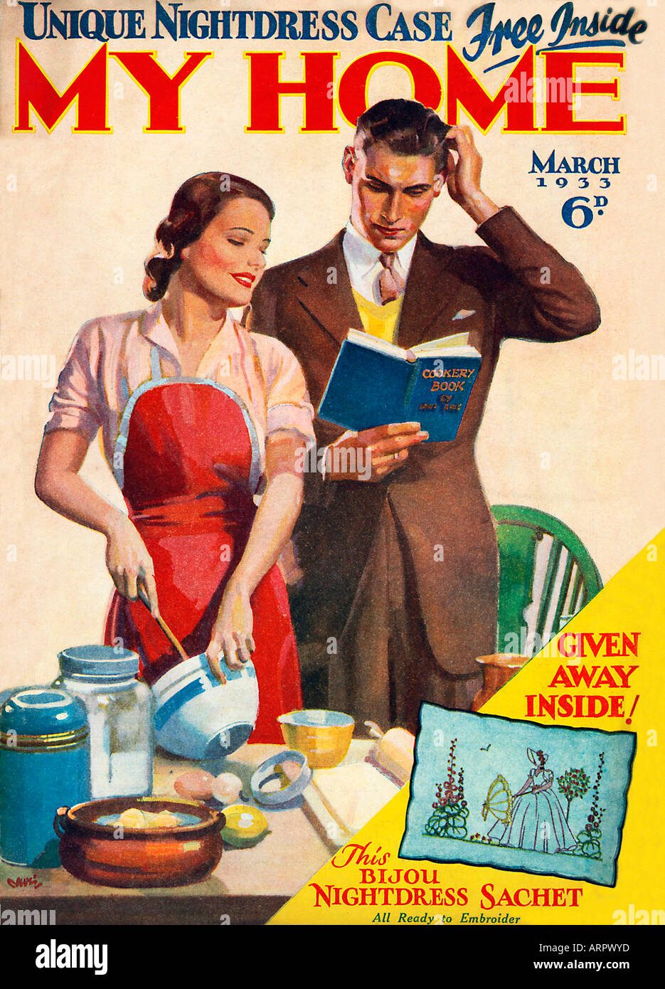 My Home Cooking Cover of the 1930s home and lifestyle magazine with a happy couple consulting the recipe - Stock Image
