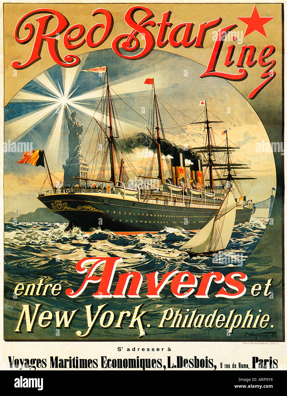 Red Star Line 1893 French poster for the Belgian American shipping line operating between Antwerp and New York Stock Photo