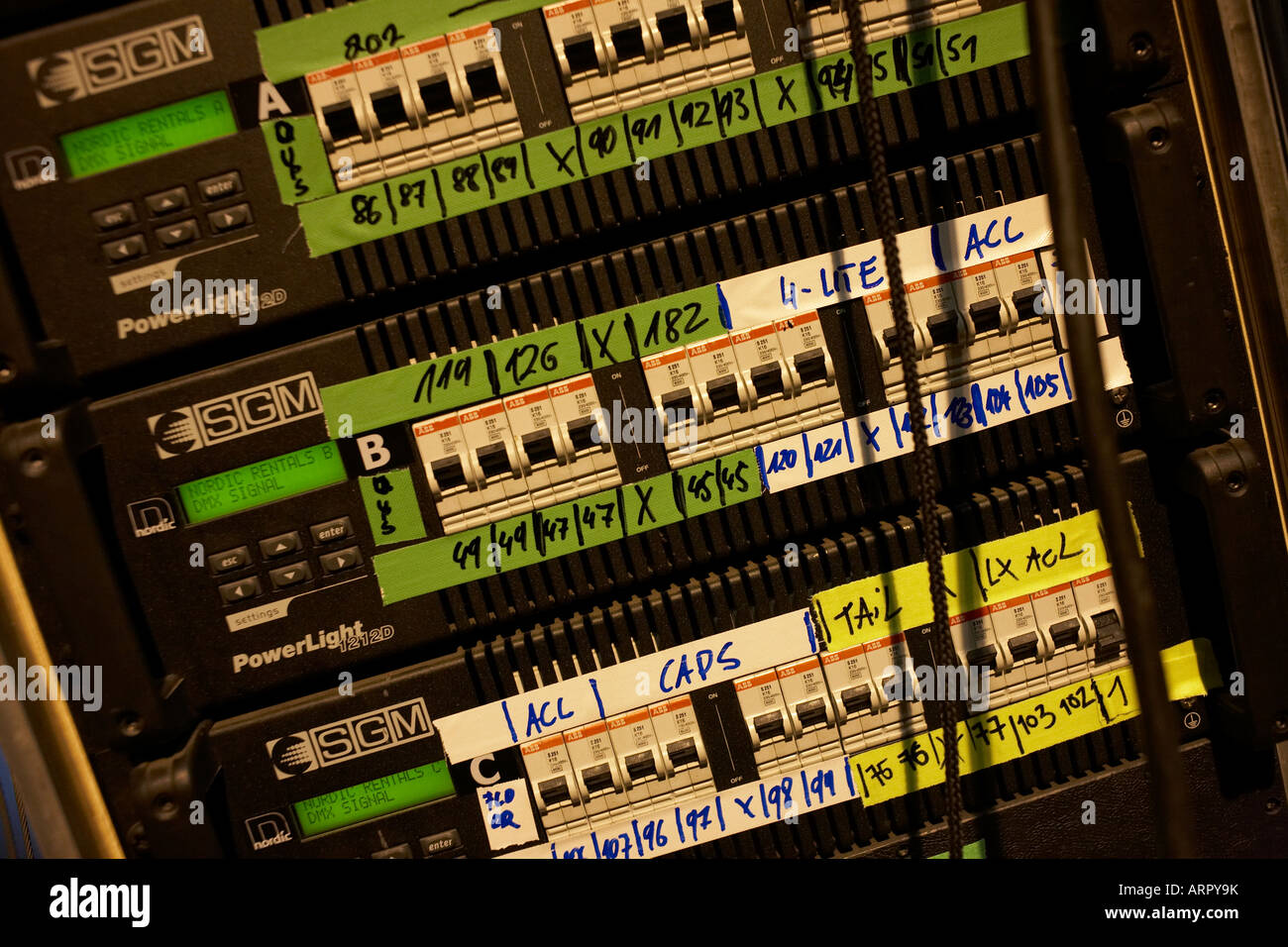 Output digital audio equipment technology belonging to rock band Status Quo on European tour at L'Aeronef in - Stock Image