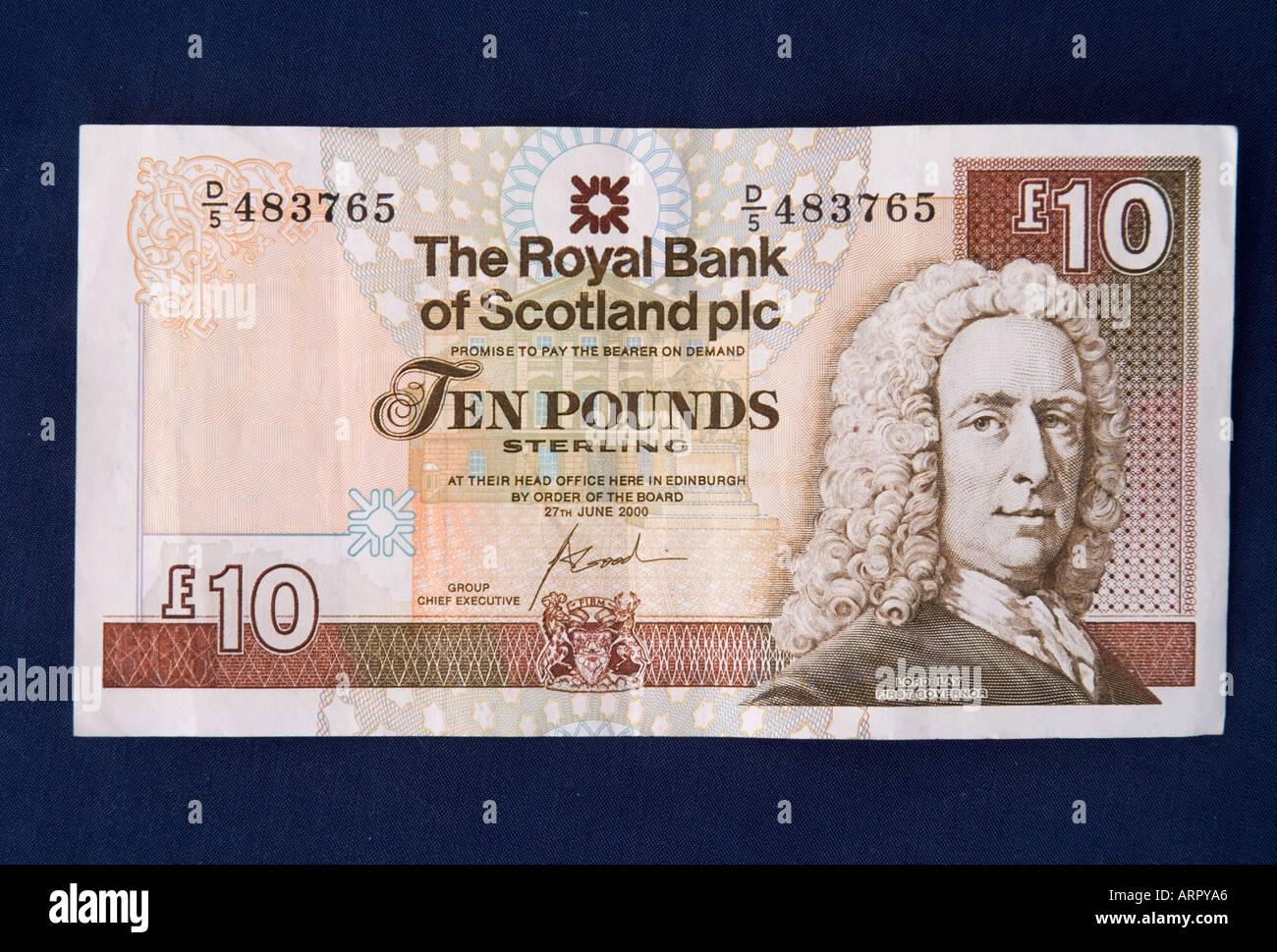 dh Scottish money ten pounds MONEY SCOTLAND UK Royal Bank of Scotland note RBS banknote 10 pound notes cut out cash Stock Photo