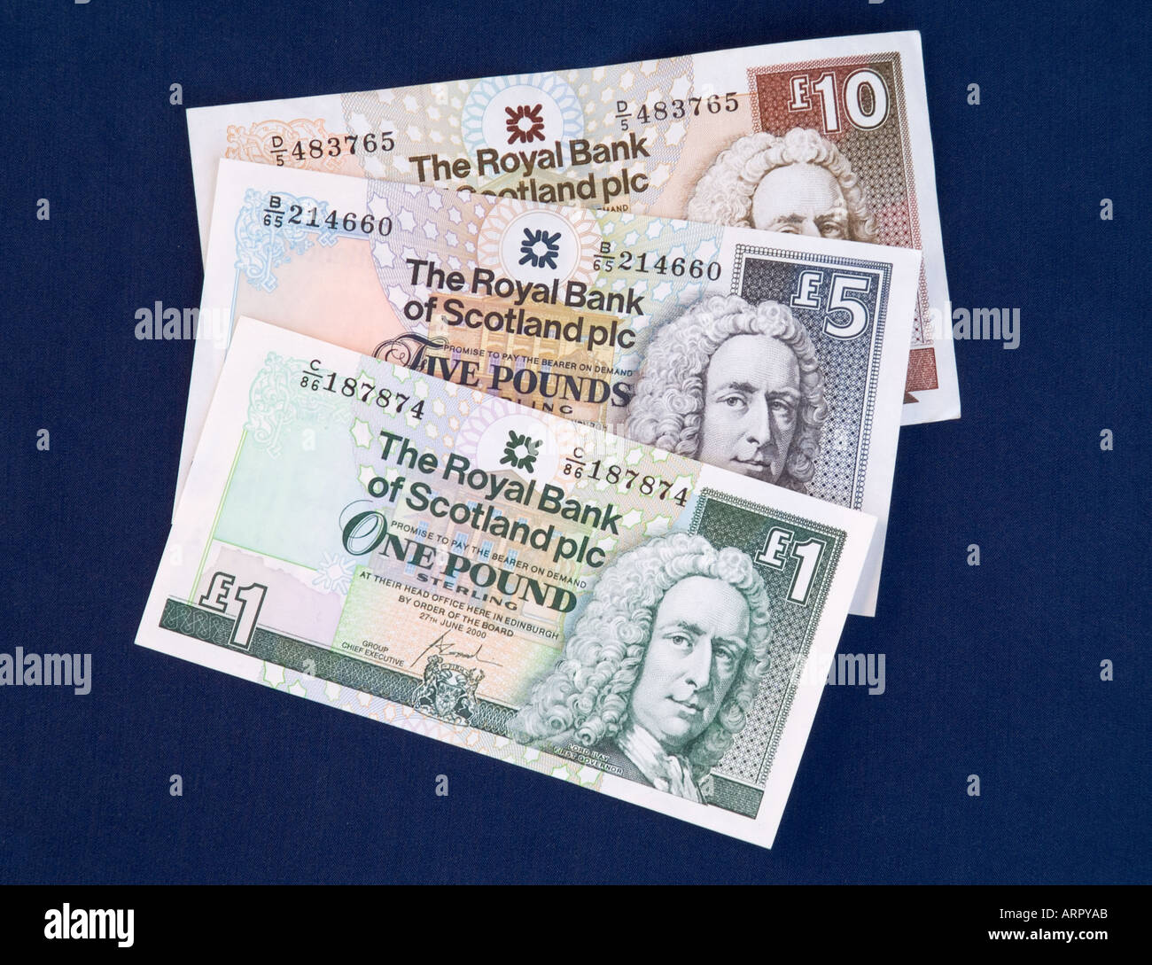 dh Scottish money notes MONEY SCOTLAND UK Royal Bank of Scotland one five ten pound cash rbs currency banknotes Stock Photo