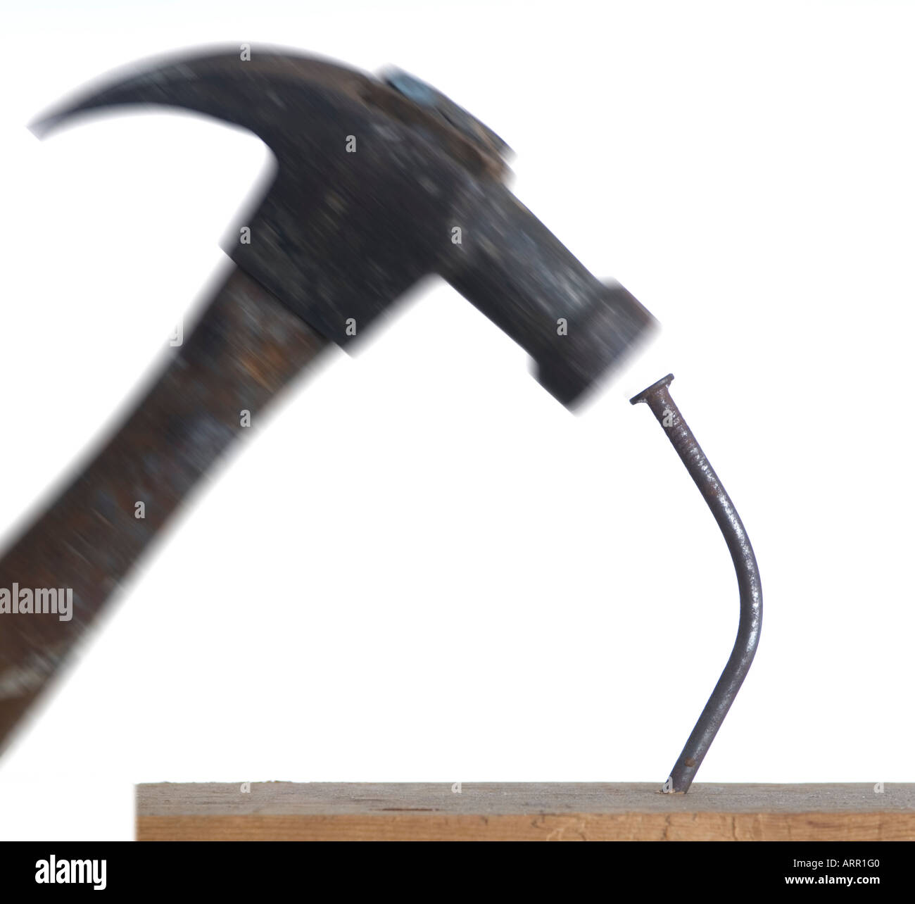 bent nail hammer Stock Photo