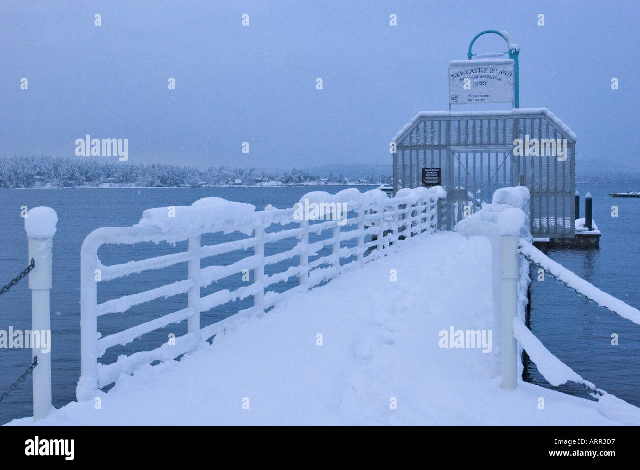 Newcastle Island Provincial Marine Park ferry dock after winter storm Nanaimo Harbour Vancouver Island British Columbia Canada - Stock Image