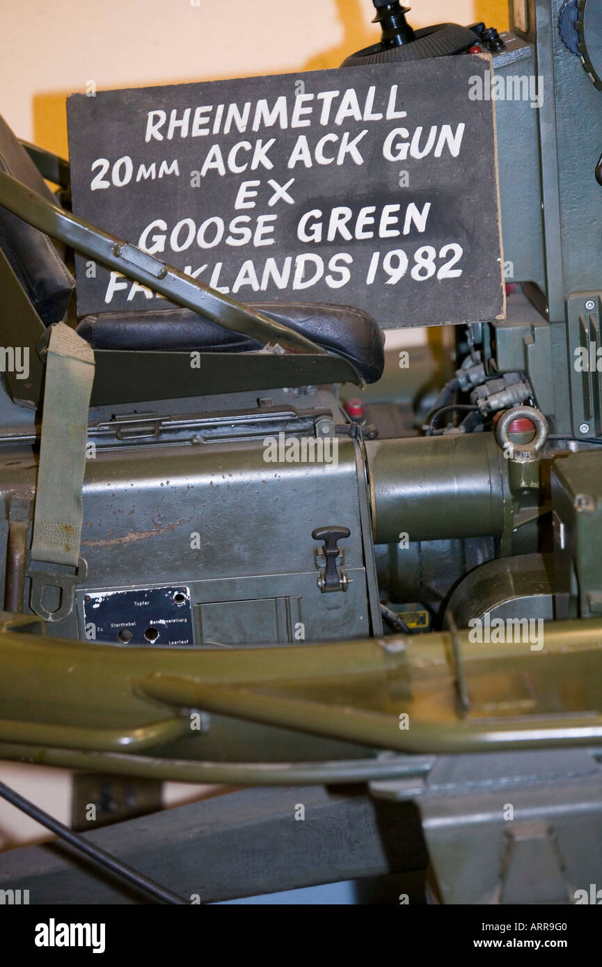 An Ack Ack gun from the Falklands war at the Muckleburgh Collection, Weybourne, Norfolk, UK - Stock Image