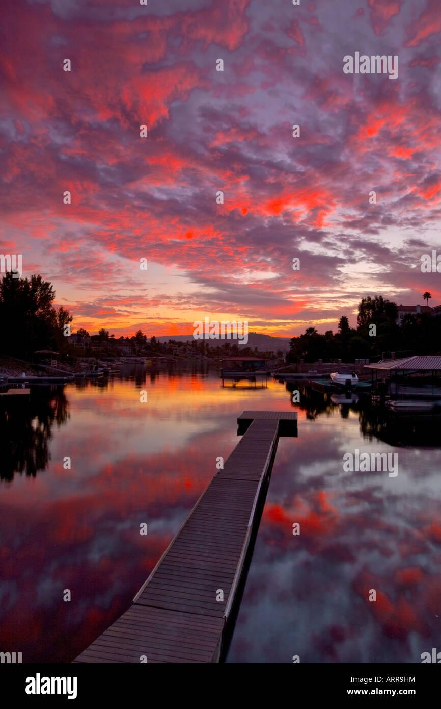 Sunset and pier at canyon lake California Riverside County USA - Stock Image