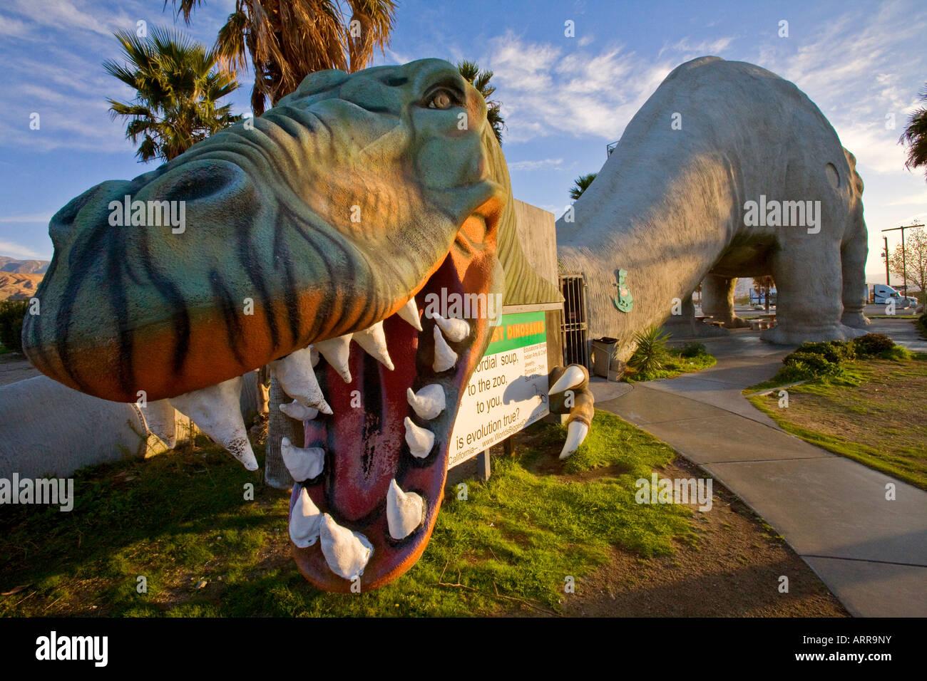 Dinosaur Replicas Cabazon Truck Stop Cabazon California USA - Stock Image