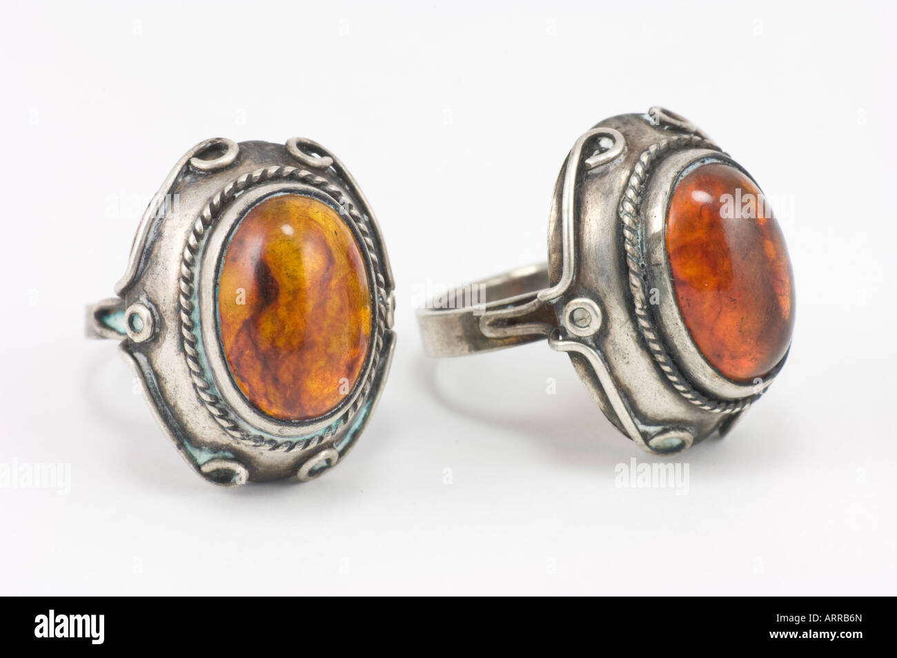 antique amber ring jewelry tarnished old - Stock Image