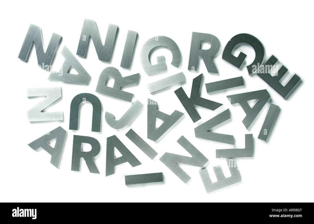 Stylish letters cut out of polished steel isolated on white - Stock Image