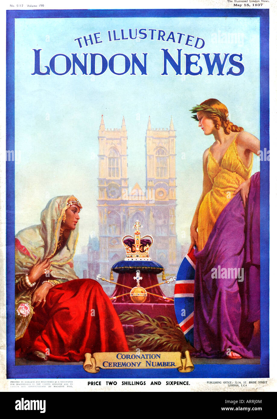 1930s The Illustrated London News Magazine Coronation Ceremony Number Edition 15 May 1937 FOR EDITORIAL USE ONLY - Stock Image