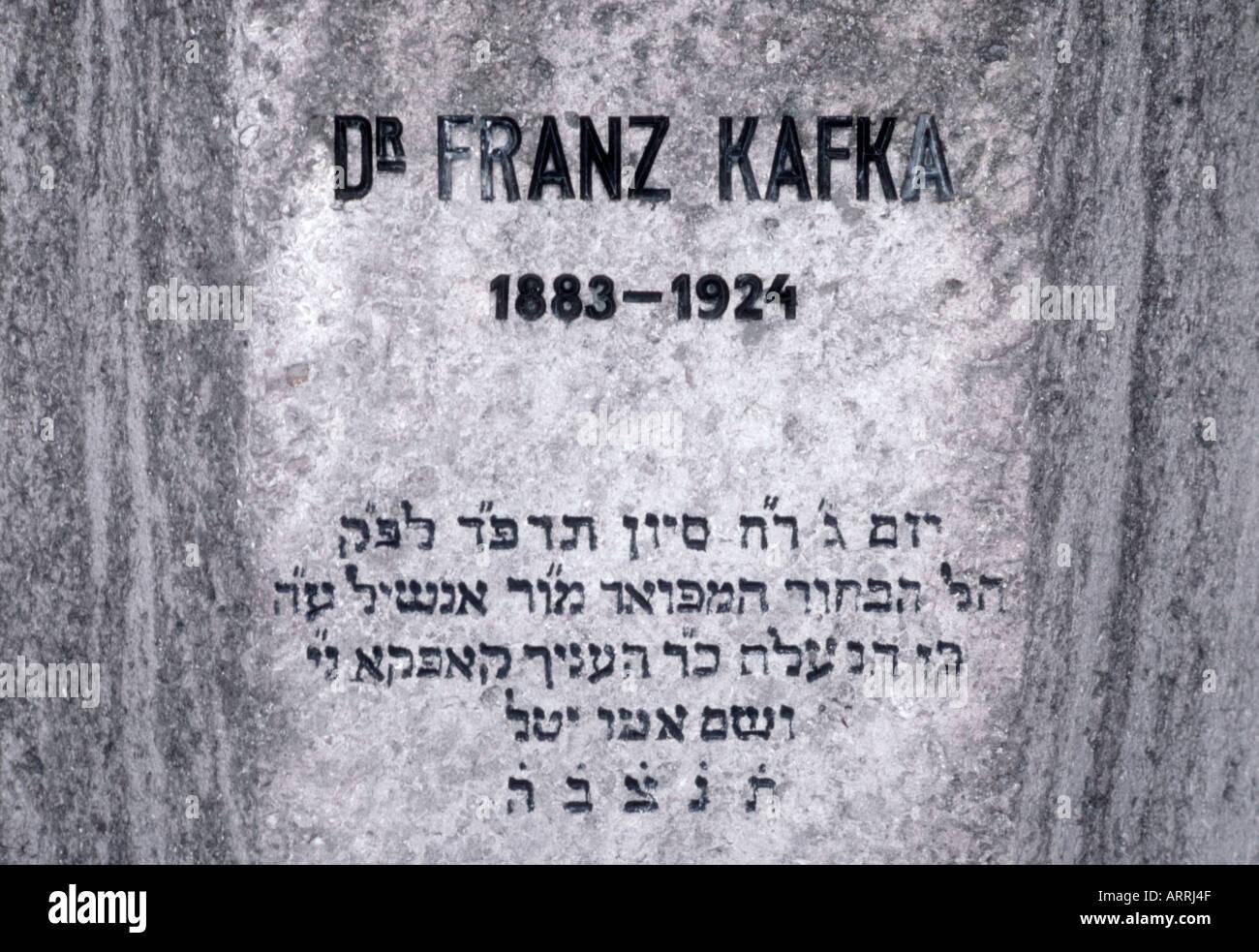Prague, Czech Republic. Detail of Franz Kafka's gravestone in New Jewish Cememtery. Hebrew inscription - Stock Image