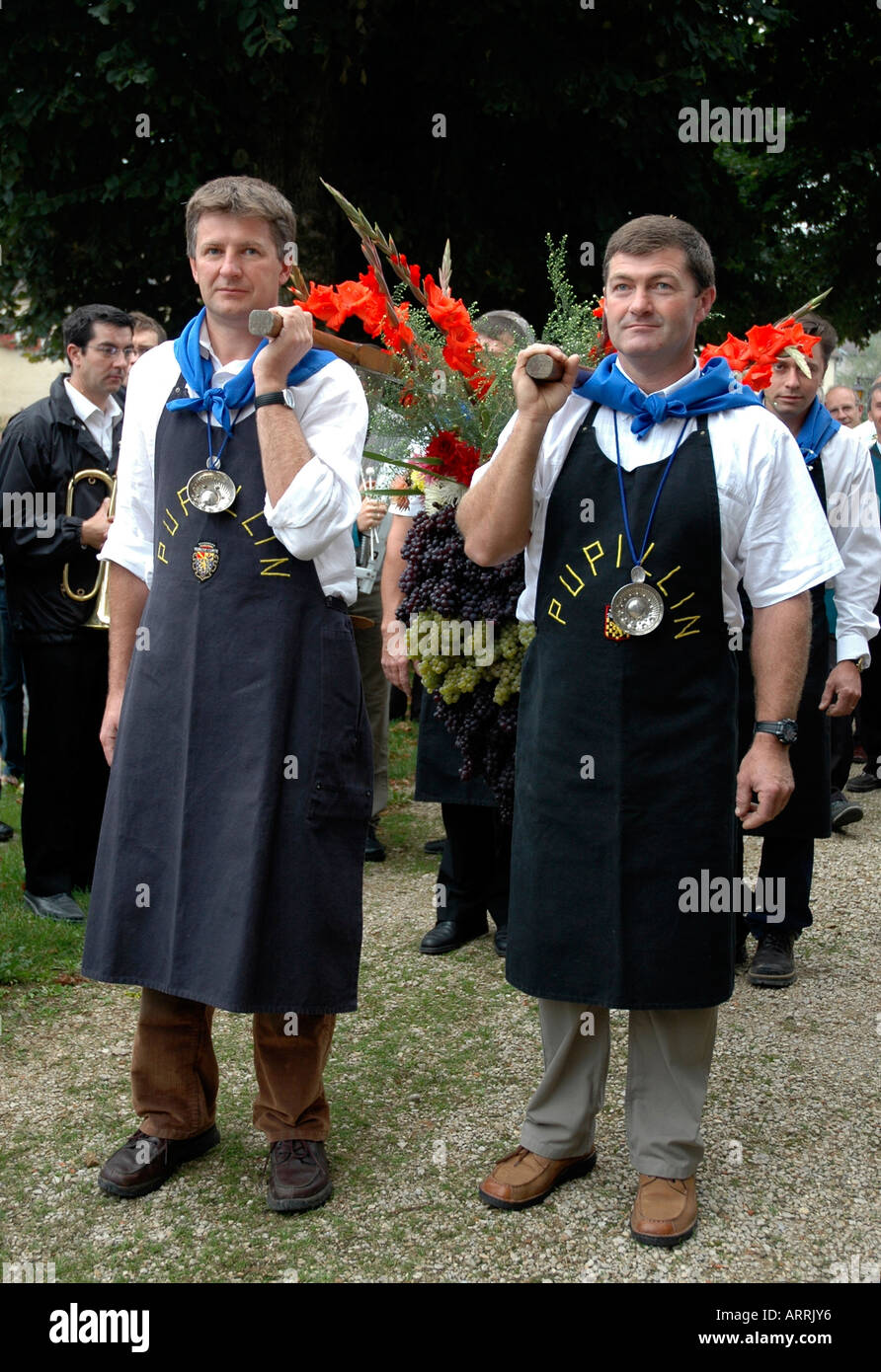 In Pupillin's annual wine festival, or biou, in the French Jura, strong men parade with the traditional huge bunch Stock Photo