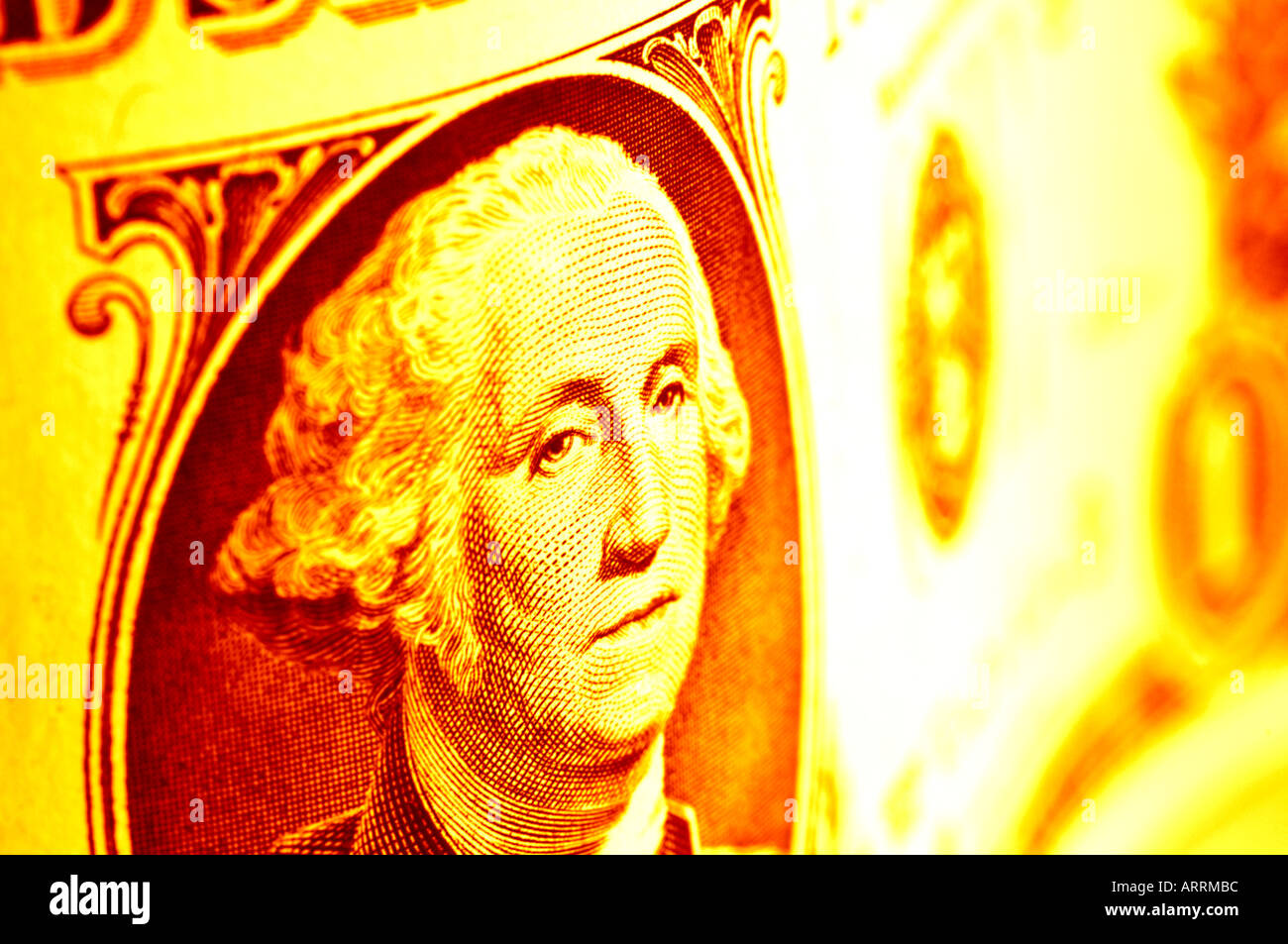 closeup of one dollar bill US sepia toned - Stock Image