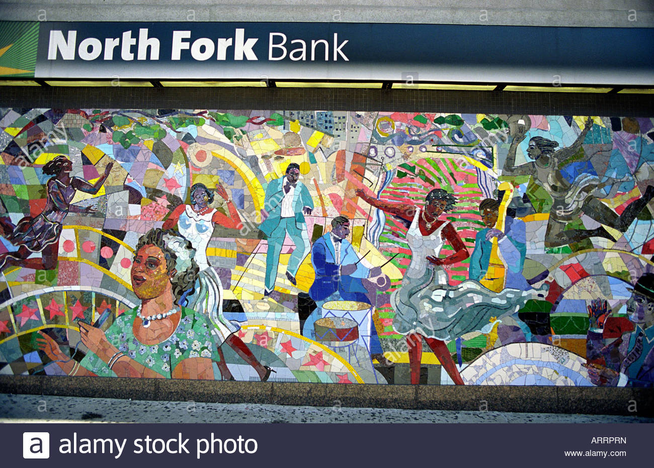 Mosiac on wall of North Fork Bank in Harlem New York - Stock Image