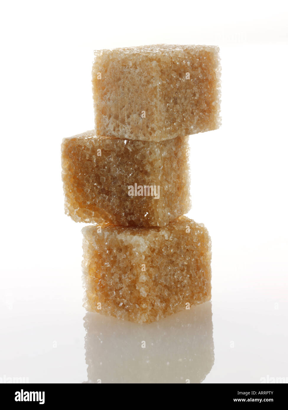 Brown Demerara Sugar cubes - Stock Image