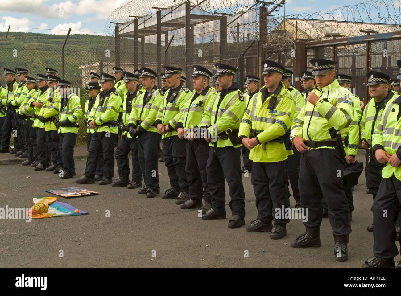 Police line at anti G8 protest, Faslane nuclear submarine base, Scotland, 2005. - Stock Image
