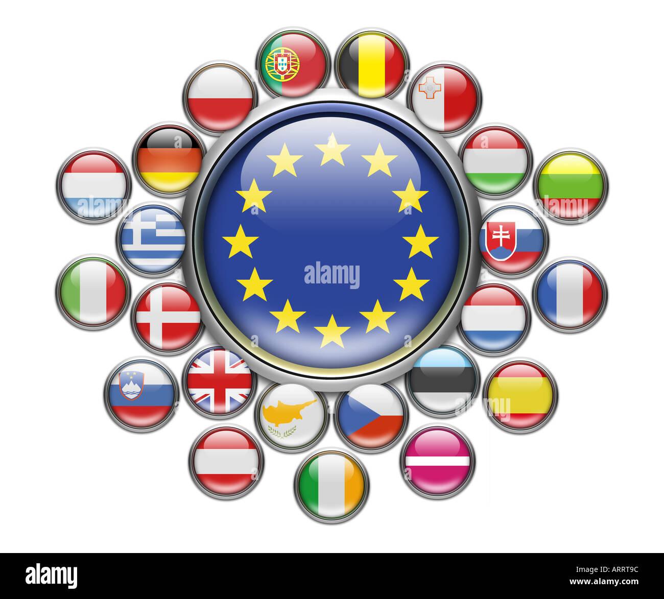 Flag of EU European Union - Stock Image
