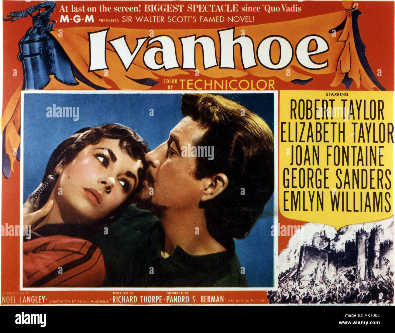 IVANHOE poster for 1952 film with Elizabeth Taylor and Robert Taylor - Stock Image