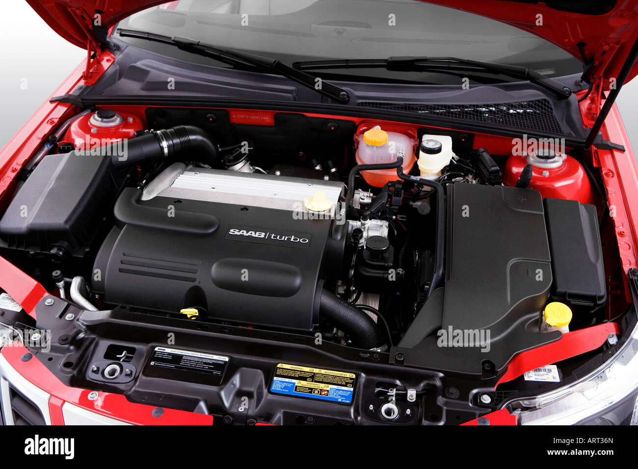 2008 Saab 9-3 2 0T in Red - Engine Stock Photo: 16120124 - Alamy