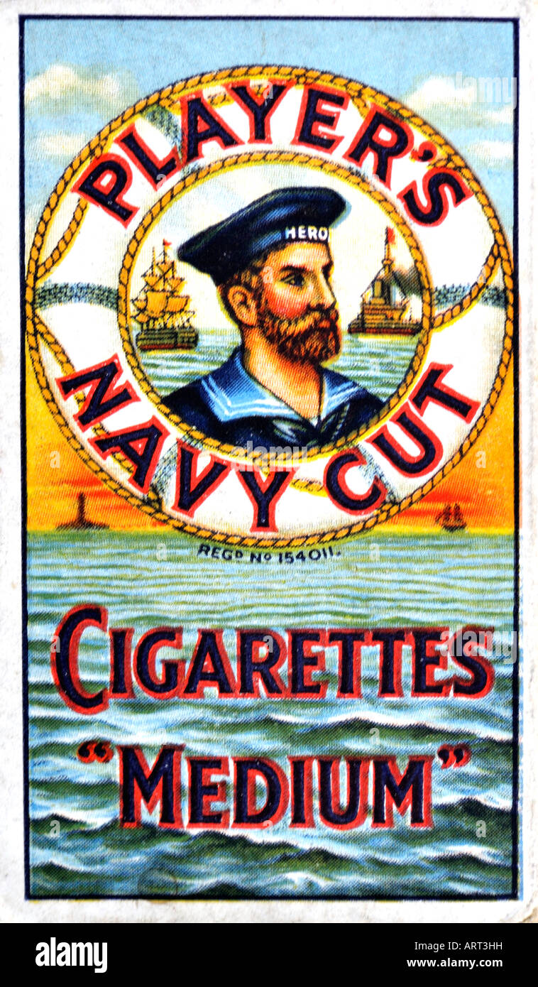 1930s 1940s 1950s 1960s  Player's Navy Cut Medium Cigarettes packet or pack FOR EDITORIAL USE ONLY - Stock Image