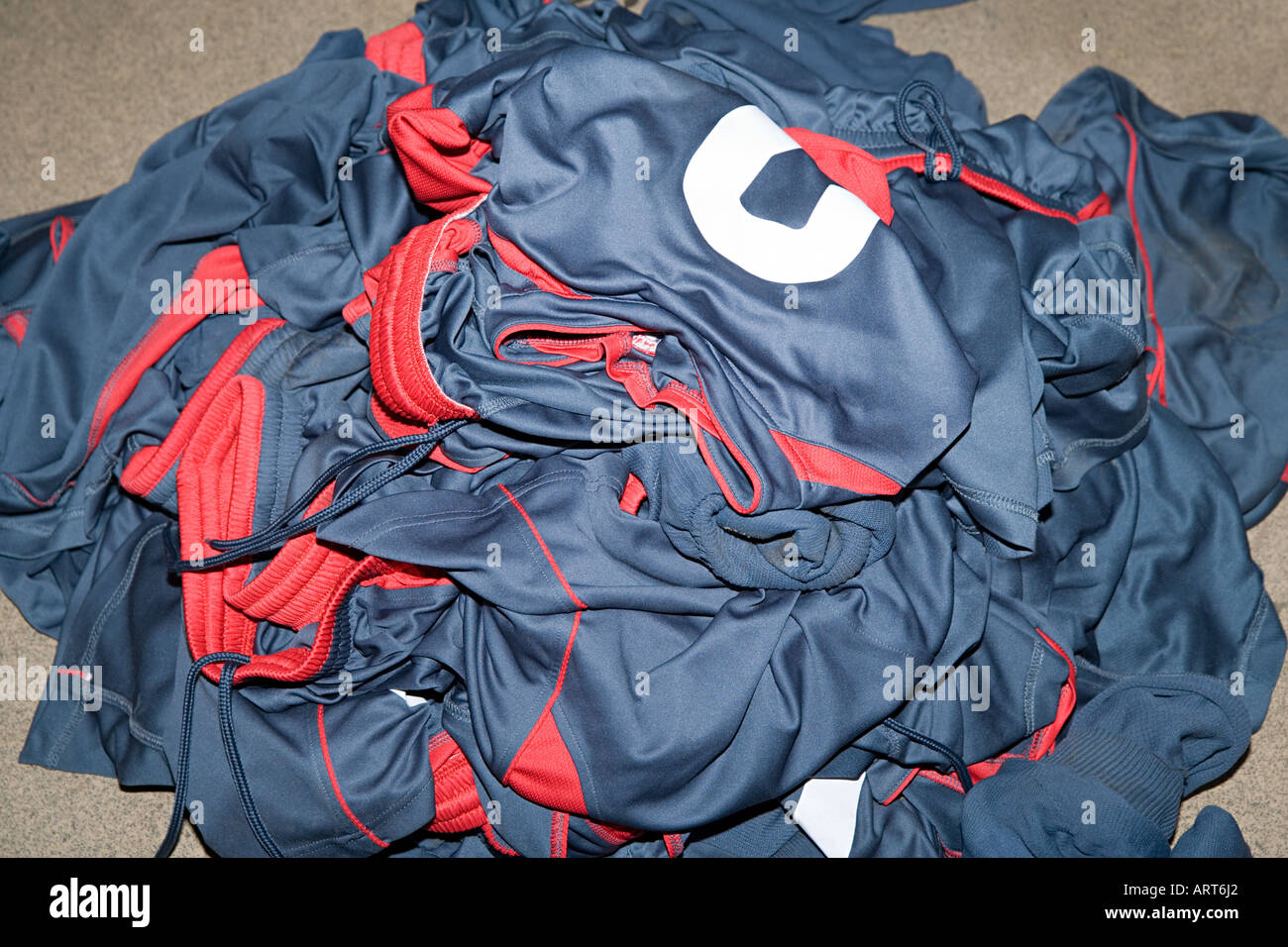 Pile of football uniforms - Stock Image